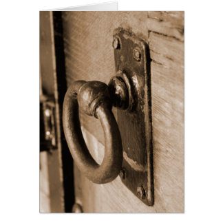 Rustic Antique Door Handle Pull and Latch Sepia Card