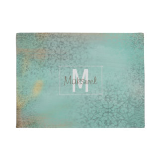 Rustic Antique Farmhouse Teal Monogram | Doormat