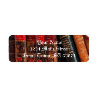 Rustic Antique Library Books Shelf Return Address Label