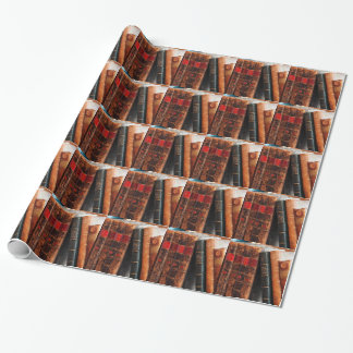 Rustic Antique Library Books Shelf Wrapping Paper