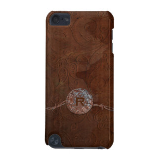 Rustic Antique Look Embossed Leather Monogram iPod Touch 5G Covers