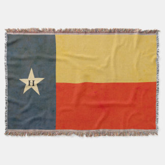 Rustic Antiqued Texas Flag with Monogram Throw Blanket