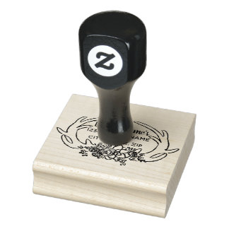 Rustic antler and flower address stamp
