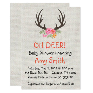 Rustic Antler Baby Shower Invitation