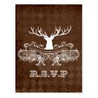 Rustic Antler, Deer Winter Woodland rsvp Postcard