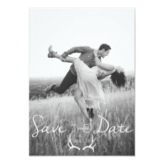 """Rustic Antler Graphic   White Save the Date 5"""" X 7"""" Invitation Card"""