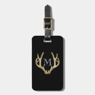 Rustic Antler Luggage Tag w/ leather strap