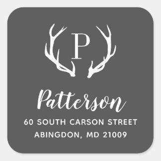 Rustic Antler Monogram Return Address Label