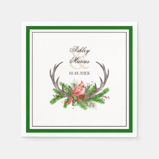 Rustic Antlers and Cardinal with Dark Green Border Disposable Napkin