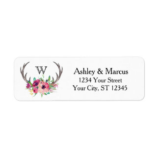 Rustic Antlers Boho Floral Allure Return Address Label