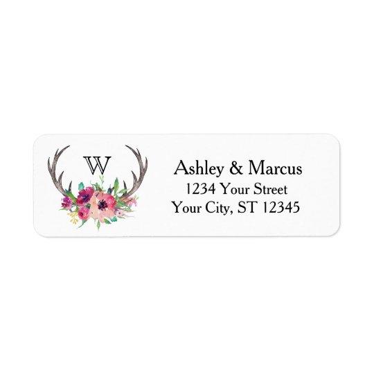 Rustic Antlers Boho Floral Allure Return Address Label