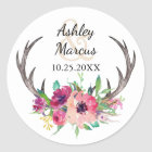 Rustic Antlers Boho Floral Allure Wedding Classic Round Sticker