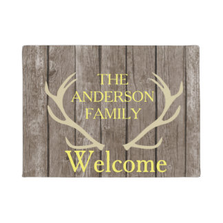 Rustic Antlers Brown Wood Personalized Door Mat