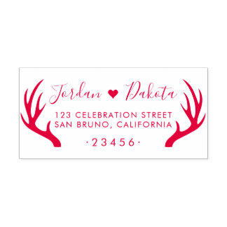 Rustic Antlers & Cute Heart Wedding Return Address Self-inking Stamp