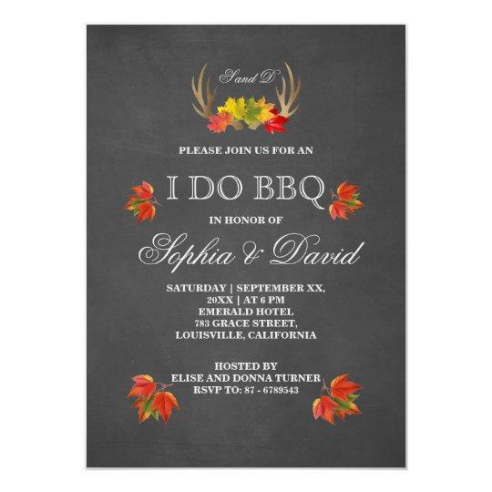 Rustic Antlers Fall Boho I DO BBQ Invitation