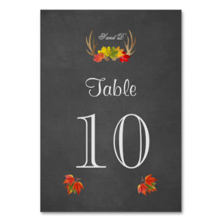 Rustic Antlers Fall Boho Wedding Table Number