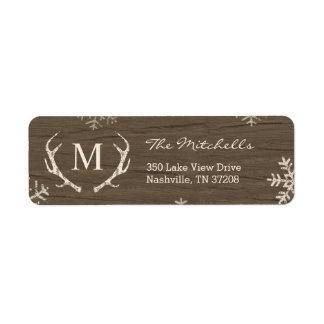 Rustic Antlers Holiday Return Address Labels