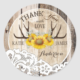 Rustic Antlers Lace Sunflowers Boho Wedding Classic Round Sticker