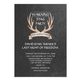 Rustic Antlers Ribbon Chalk Stag Party Invite