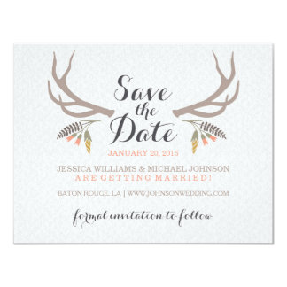 Rustic Antlers Save the Date Card