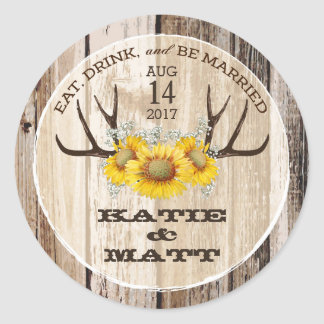 Rustic Antlers Sunflowers Country Wedding Round Sticker