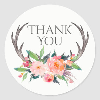 Rustic Antlers with Pink Bouquet Thank You Classic Round Sticker