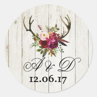 Rustic Antlers Wood Floral Wedding Stickers Label