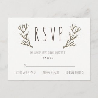 Rustic antlers wreath wedding rsvp postcards