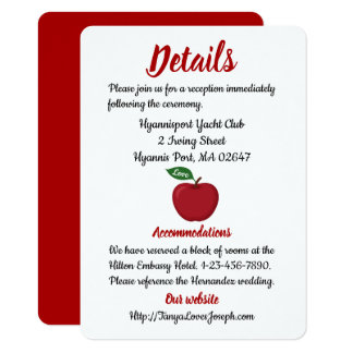 Rustic Apple Red Burgundy Wedding Details Fallo Card