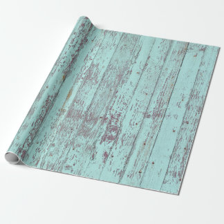Rustic Aqua Barn Wood Wrapping Paper
