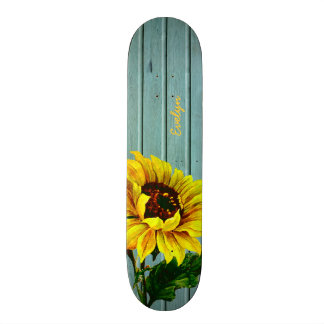 Rustic Aqua Boards Sunflower Custom Skateboard