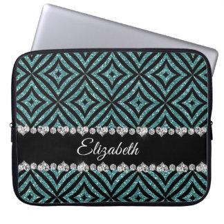 Rustic Aqua Glitter Black Pattern Personalized Laptop Sleeve
