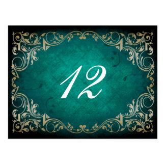 rustic aqua regal  wedding table seating card postcard