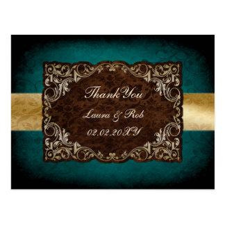 rustic aqua regal wedding Thank You Post Cards