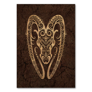 Rustic Aries Zodiac Sign on Stone Effect Table Cards