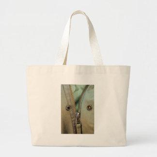 Rustic Army Green Zipper Print Large Tote Bag