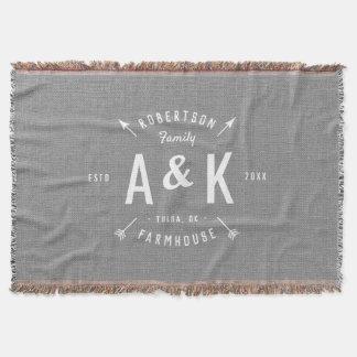 Rustic Arrow Family Monogram Throw Blanket