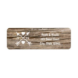 Rustic Arrows & Hearts Wood Wedding Address Labels