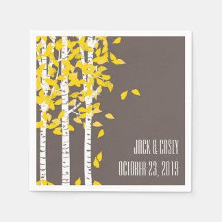 Rustic Aspen Birch Trees Wedding Napkins Paper Napkins
