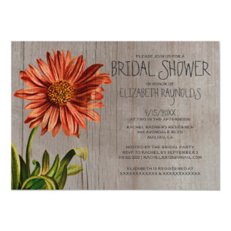 Rustic Aster Bridal Shower Invitations