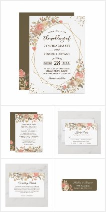 Rustic Autumn Coral Beige Floral Invitation Suite