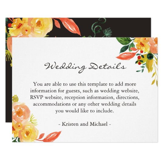 Rustic Autumn Floral Wedding Details Information Card