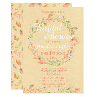 Rustic Autumn Flowers Watercolor Bridal Shower Card