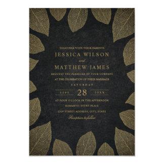 Rustic Autumn Gold Leaves Elegant Fall Wedding Card