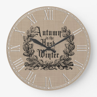 Rustic Autumn Harvest Sayings Large Clock