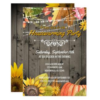 Rustic Autumn Housewarming Party Barnwood Lights Card