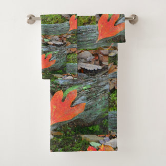 Rustic Autumn Leaves Bath Towel Set