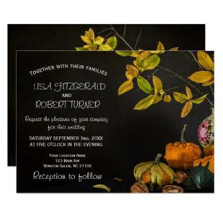 Rustic Autumn Leaves Pumpkin Wedding Invitations
