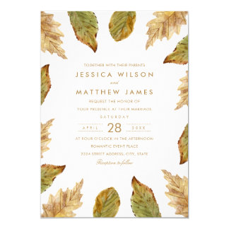 Rustic Autumn Leaves Vintage Fall Themed Wedding Card