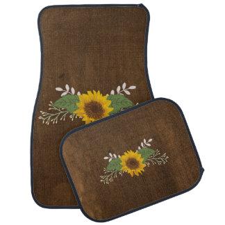 Rustic Autumn Sunflower Car Floor Carpet